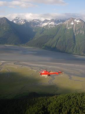 Helicopter above tundra